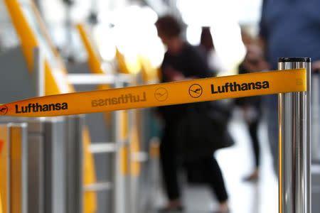 Barrier tape of German airline Lufthansa is seen at Munich airport