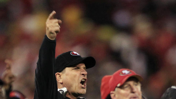 San Francisco 49ers head coach Jim Harbaugh reacts to a call during the second half of the NFC Championship NFL football game against the New York Giants Sunday, Jan. 22, 2012, in San Francisco. (AP Photo/Marcio Jose Sanchez)