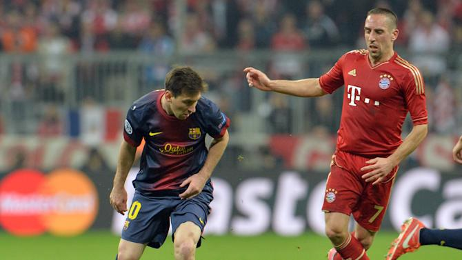 Barcelona forward Lionel Messi, of Argentina, controls the ball next to Bayern's Franck Ribery of France during the Champions League semifinal first leg soccer match between Bayern Munich and FC Barcelona in Munich, Germany, Tuesday, April 23, 2013. (AP Photo/Kerstin Joensson)