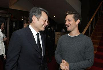 Director Ang Lee and Tobey Maguire at the Los Angeles premiere of Focus Features' Lust, Caution