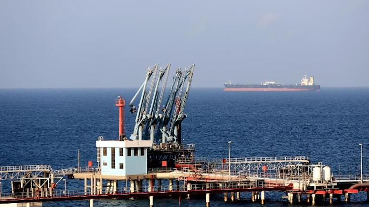 A general view shows the Hariqa oil port and loading installation on August 20, 2013 in Tobruk, Libya