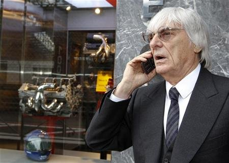 Formula One commercial supremo Bernie Ecclestone speaks on the phone during the Monaco F1 Grand Prix