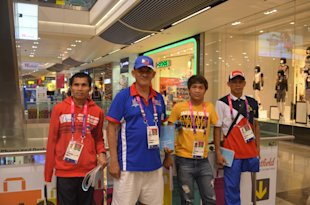 Coach Joel Deriada (2nd from left) with Ph Paralympians Isidro Vildosola, Roger Tapia, and Andy Avellana. Photo by RYAN ESTEVES.