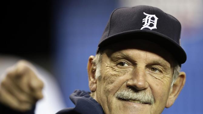 Detroit Tigers manager Jim Leyland gestures before Game 3 of baseball's World Series against the San Francisco Giants Saturday, Oct. 27, 2012, in Detroit. (AP Photo/Matt Slocum)