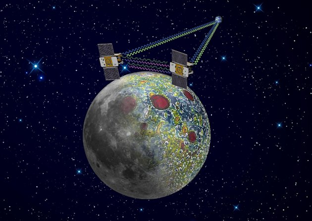 This undated artist rendering provided by NASA on Dec. 21,2011 shows the twin Grail spacecraft mapping the lunar gravity field. The two probes are scheduled to enter orbit around the moon over New Year&#39;s weekend. (AP Photo/NASA, Jet Propulsion Laboratory)