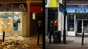 In this composite image (Left Photo) Damage caused by looters on Clapham High Street on August 8, 2011 in London, England. (Right Photo) The O2 store on Claphan High Street, one year on from the riots. August 6th marks the one year anniversary of the England riots, over the course of four days several London boroughs, and districts of cities and towns around England suffered widespread rioting, looting and arson as thousands took to the streets. (Chris Jackson/Peter Macdiarmid/Getty Images)
