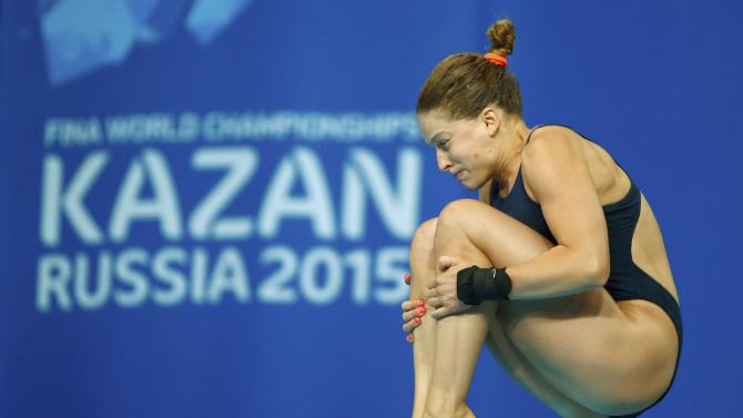 Batki of Italy dives during women's 10m platform semi-finals at the Aquatics World Championships in Kazan