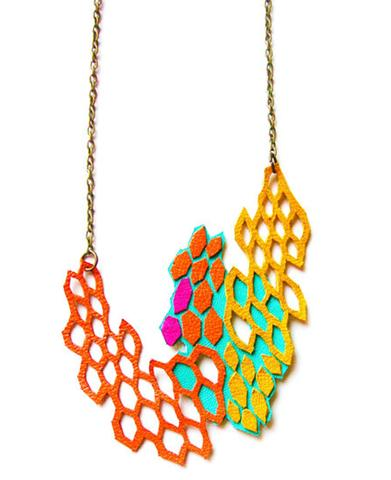 Boo and Boo Factory, Leather Necklace Molecular Series, $42