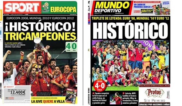 Portadas peridicos Espaa victoria Eurocopa 2012