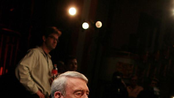 "In this Jan. 8, 2008 image released by HDNet, Dan Rather covers the 2008 New Hampshire Presidential Primary for his HDNet program ""Dan Rather Reports"" at the Palace Theatre in downtown Manchester. Rather is approaching several milestones: five years at HDNet, nearly 200 episodes of ""Dan Rather Reports"" and, on Halloween, an 80th birthday as a still-working reporter. (AP Photo/HDNet, Lucian Read)"