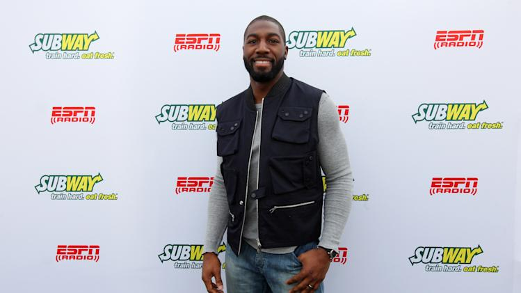 IMAGE DISTRIBUTED FOR SUBWAY - Greenbay Packers wide receiver Greg Jennings seen outside at the Subway Fresh Take Green Room, on Friday, Feb. 1, 2013 in New Orleans. (Photo by Barry Brecheisen/Invision for SUBWAY/AP Images)