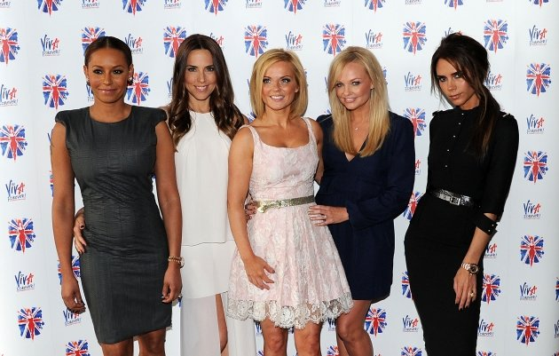 Melanie Brown, Melanie Chisholm, Geri Halliwell, Emma Bunton and Victoria Beckham of the Spice Girls attend launch of new musical based on the Spice Girls&amp;#39; music at St Pancras Renaissance Hotel in