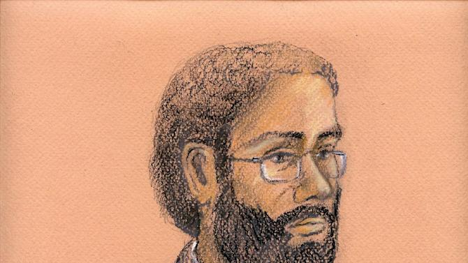 """This courtroom artist sketch shows Chiheb Esseghaier  in a Toronto courtroom on Wednesday, April 24, 2013.  Esseghaier, a man charged in an alleged al-Qaida-directed plot to attack a Via Rail passenger train was remanded in custody Wednesday after telling the court the Criminal Code is """"not a holy book."""" (AP Photo/The Canadian Press, Tammy Hoy)"""