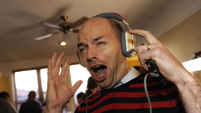 Actor Paul Scheer wears Inspiration headphones by Monster Products at the Fender Music lodge during the Sundance Film Festival on Monday, Jan. 21, 2013, in Park City, Utah. (Photo by Jack Dempsey/Invision for Fender/AP Images)