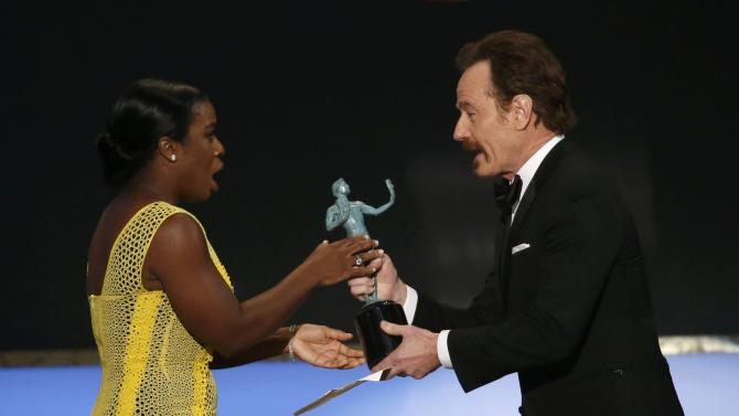 "Actress Uzo Aduba accepts her award for Outstanding Performance by a Female Actor in a Comedy Series award for her role in the Netflix series ""Orange is the New Black"" at the 21st annual Screen Actors Guild Awards in Los Angeles"