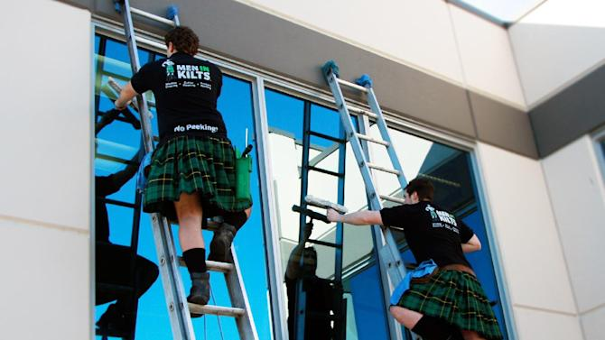 Men in kilts want to clean your windows
