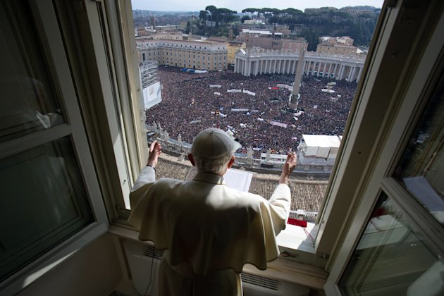 In this photo provided by the Vatican newspaper L'Osservatore Romano, Pope Benedict XVI delivers his blessing during his last Angelus noon prayer, from the window of his studio overlooking St. Peter's Square, at the Vatican, Sunday, Feb. 24, 2013. Benedict XVI gave his pontificate's final Sunday blessing from his studio window to the cheers of tens of thousands of people packing St. Peter's Square, but sought to reassure the faithful that he wasn't abandoning the church by retiring to spend his final years in prayer. The 85-year-old Benedict is stepping down on Thursday evening, the first pope to do so in 600 years, after saying he no longer has the mental or physical strength to vigorously lead the world's 1.2 billion Catholics. (AP Photo/L'Osservatore Romano, ho)