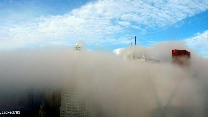 The view from MacFarlane's cab when it is just above the clouds.