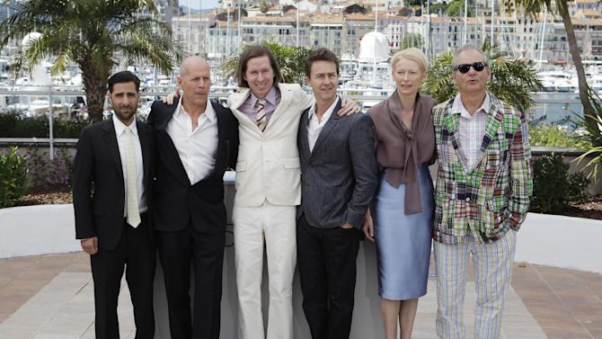 From left, actors Jason Schwartzman, Bruce Willis, director Wes Anderson, and actors Edward Norton, Tilda Swinton, and Bill Murray pose during a photo call for Moonrise Kingdom at the 65th international film festival, in Cannes, southern France, Wednesday, May 16, 2012. (AP Photo/Lionel Cironneau)