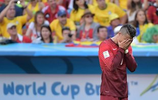 Cristiano Ronaldo reacts after Portugal got knocked out of the World Cup. (AFP)