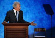 Clint Eastwood speaks during the final day of the Republican National Convention in Tampa Bay on August 30. His bizarre speech at the convention raised many eyebrows, with some wondering if the icon was simply, sadly, growing senile