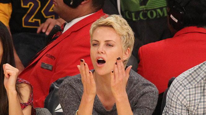 Charlize Theron at the Lakers game