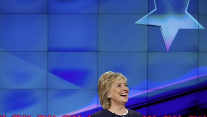Democratic presidential candidate and former Secretary of State Hillary Clinton smiles during the first official Democratic candidates debate of the 2016 presidential campaign in Las Vegas