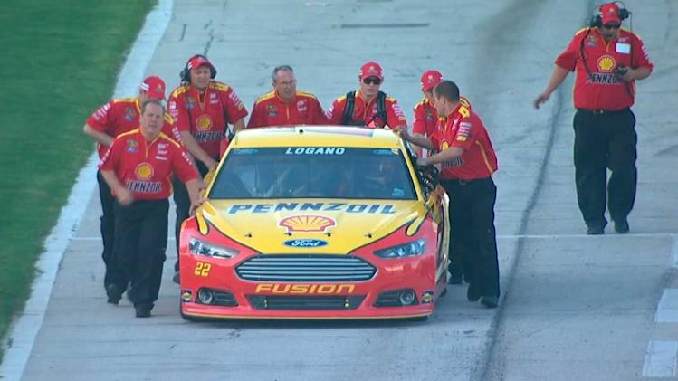 Logano almost misses race