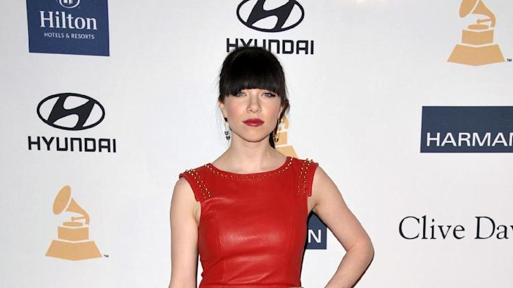 Recording artist Carly Rae Jepsen arrives at the Clive Davis Pre-GRAMMY Gala on Saturday, Feb. 9, 2013 in Beverly Hills, Calif. (Photo by John Shearer/Invision/AP)