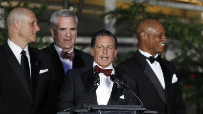Cleveland Cavaliers owner and CEO of Rock Gaming, Dan Gilbert, speaks at the opening of the Horseshoe Casino Cleveland Monday, May 14, 2012. (AP Photo/Mark Duncan)