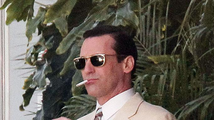 Jon Hamm, John Slattery and Rich Sommer film a scene for their hit TV show 'Mad Men' in Los Angeles