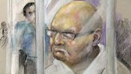 Richard Henry Bain, seen in a courtroom sketch, apparently had little time to talk to a lawyer before his first court appearance Thursday in Montreal. He's charged with first-degree murder and 15 other crimes.