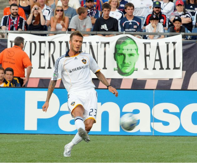FOXBOROUGH, MA - AUGUST 8: David Beckham #23 of the Los Angeles Galaxy vs the New England Revolution August 8, 2009 at Gillette Stadium in Foxborough, Massachusetts. (Photo by Keith Nordstrom/MLS via