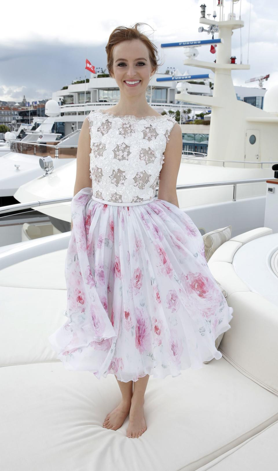FILE - This May 19, 2013 file photo shows actress Ahna O'Reilly wearing a Georges Hobeika top and floral printed skirt embroidered with Swarovski crystals at the Art of Elysium Party during the 66th international film festival, in Cannes, southern France. (Photo by Todd Williamson/Invision/AP, file)
