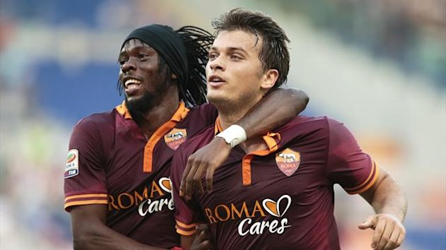AS Roma's Adem Ljajic (R) celebrates with teammate Kouassi Gervinho (Reuters)
