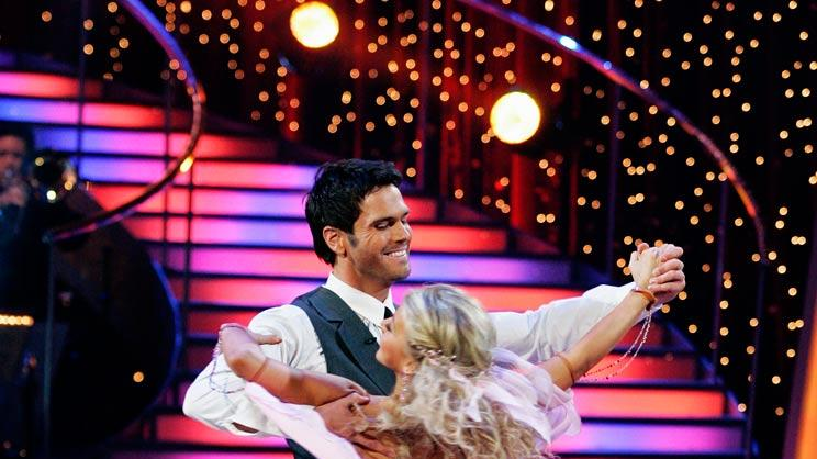 "Chuck Wicks and Julianne Hough perform the Viennese Waltz to ""Feels Like Today"" by Rascal Flatts on ""Dancing with the Stars."""