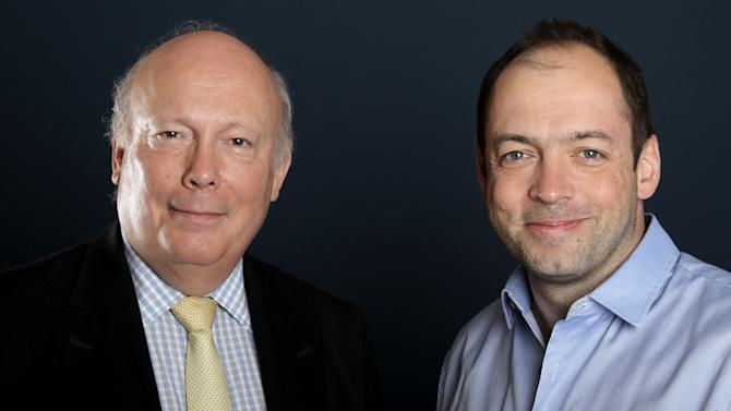 "Writer and producer Julian Fellowes, left, and producer Gareth Neame, from ""Downton Abbey"", pose for a portrait during the PBS TCA Press Tour on Saturday, July 21, 2012, in Beverly Hills, Calif. (Photo by Matt Sayles/Invision/AP)"