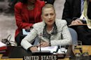 U.S. Secretary of State Clinton speaks during Security Council meeting in New York
