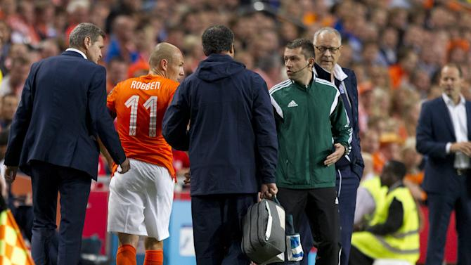 Arjen Robben of the Netherlands (L) is injured and leaves the pitch during their Euro 2016 qualifying soccer match against Iceland in Amsterdam