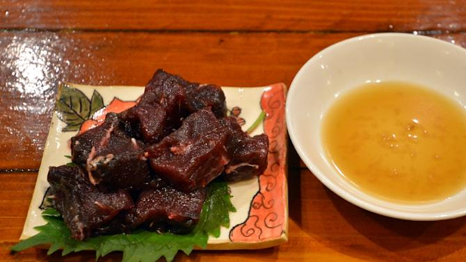 A dish of whale meat sashimi at a restaurant in Tokyo for the Ebisu whale meat festival in October 2015