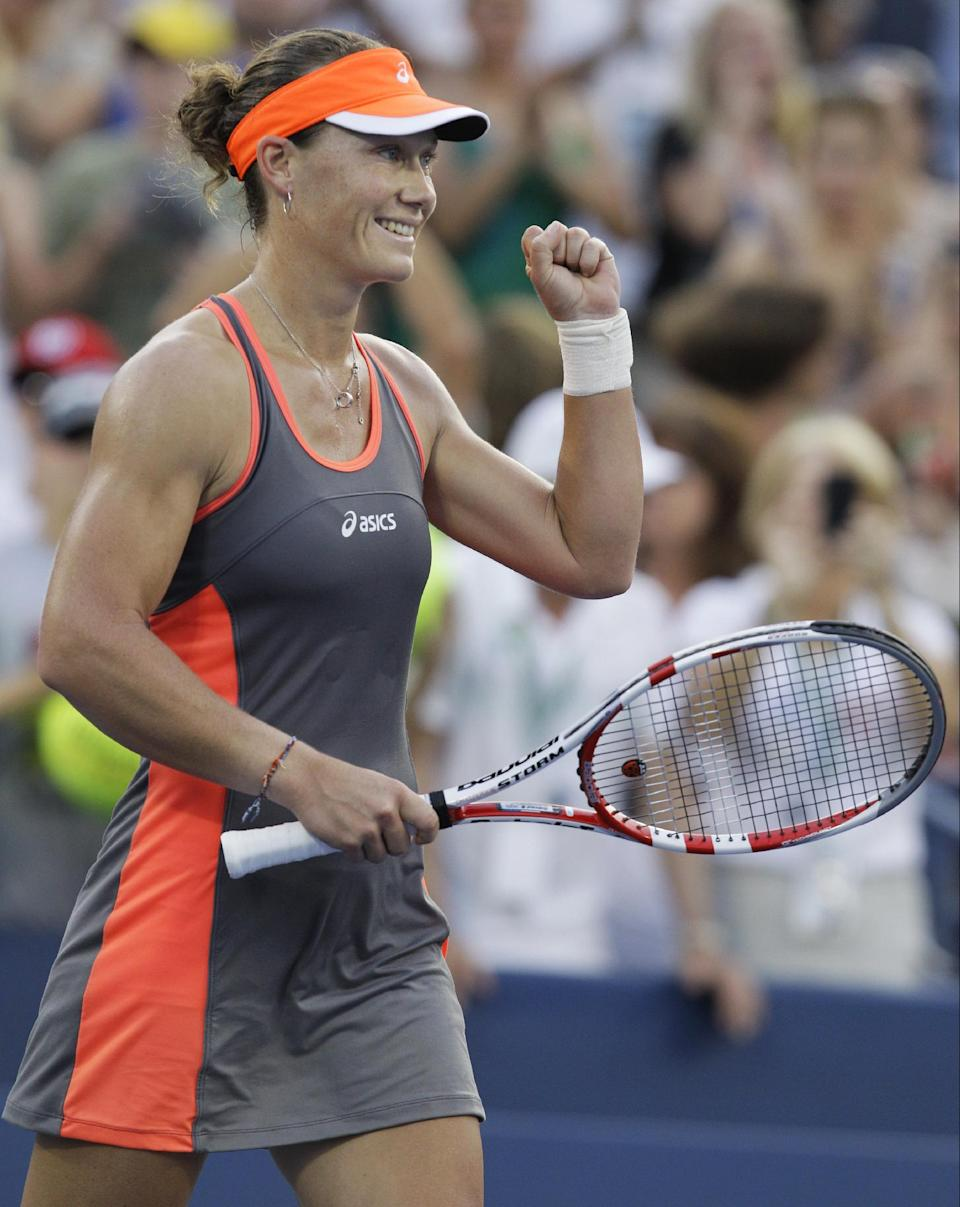 Samantha Stosur, of Australia, reacts after winning her match against Britain's Laura Robson in the fourth round of play at the 2012 US Open tennis tournament,  Sunday, Sept. 2, 2012, in New York. (AP Photo/Kathy Willens)
