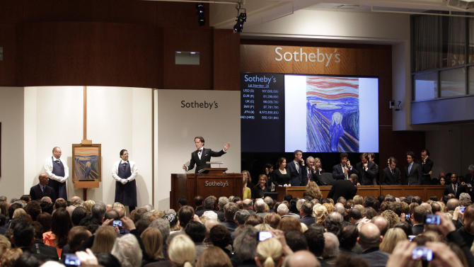 """Edvard Munch's """"The Scream"""" is auctioned at Sotheby's  Wednesday, May 2, 2012, in New York. The image is one of four versions created by the Norwegian expressionist painter. Three are in Norwegian museums and the one at the Sotheby's auction is the only one left in private hands.  The painting is being sold by Norwegian businessman Petter Olsen, whose father was a friend and patron of the artist. The winning bid was $107 Million. The hammer price was $107 Million with the buyers premium is $119,922, 500.  (AP Photo/Frank Franklin II)"""