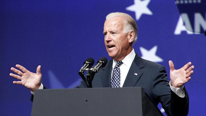 Vice President Joe Biden speaks at the National Council of La Raza convention at the Mandalay Bay Convention Center in Las Vegas, Tuesday, July 10, 2012. (AP Photo/Las Vegas Review-Journal, John Locher, Pool)