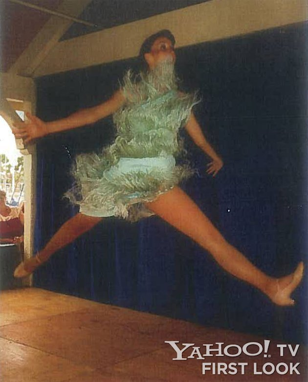 Phyllis Smith doing a jump split while dancing with a small revue at Shoreline Village in Long Beach, CA