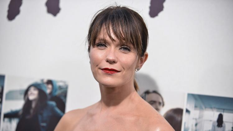 """Katie Aselton arrives at the World Premiere Of """"If I Stay"""" on Wednesday, Aug. 20, 2014, in Los Angeles. (Photo by Richard Shotwell/Invision/AP)"""
