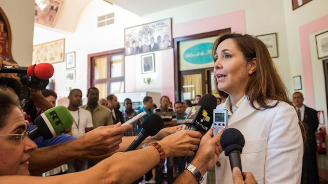 Mariela Castro, daughter of Cuban president Raul Castro, talks to the press at the National Hotel in Havana on July 24, 2014
