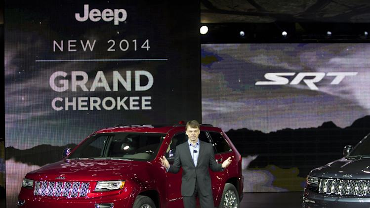 Mike Manley, President and CEO of Jeep, unveils the 2014 Jeep Grand Cherokee, at the North American International Auto Show, Monday, Jan. 14, 2013, in Detroit, Mich. (AP Photo/Tony Ding)