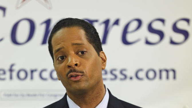 In this Feb. 7, 2013 photo, Anthony Beale, a Democratic hopeful for Illinois' 2nd District seat, speaks at a news conference in Chicago. Beale is one of more than a dozen candidates running in a special primary election Feb. 26 to replace former Congressman Jesse Jackson Jr. who resigned in November 2012. Like much of the national conversation these days, the race to replace Jackson in Congress has been dominated by one topic: guns. Nearly half of 2nd District voters live on the South Side of Chicago, where some of the nation's worst gun violence has been heavily concentrated.  (AP Photo/M. Spencer Green)