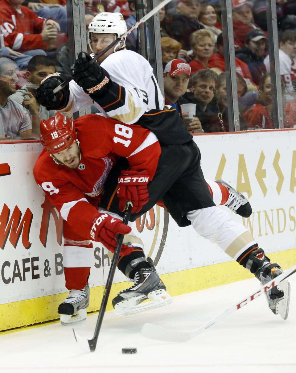 Anaheim Ducks center Nick Bonino (13) hits Detroit Red Wings defenseman Ian White (18) into the boards to gain control of the puck in the first period of an NHL hockey game on Friday, Feb. 15, 2013, in Detroit. (AP Photo/Duane Burleson)