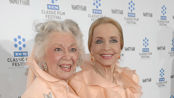 """FILE - This April 22, 2010 file photo shows actresses Ann Rutherford, left, and Anne Jeffreys at the premiere of the newly restored feature film """"A Star Is Born"""" in Los Angeles. Rutherford, who played Scarlett O'Hara's sister Carreen in the 1939 movie classic """"Gone With the Wind,"""" died at her home in Beverly Hills, Calif. on Monday, June 11, 2012.  She was 94. (AP Photo/Dan Steinberg, file)"""